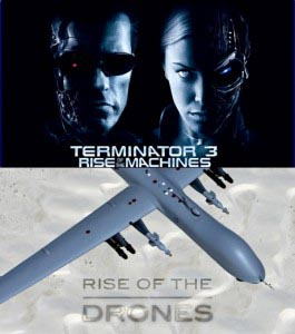 Terminator 3: Rise of the Machines movie poster above a photo of a drone with Rise of the Drones written on it.