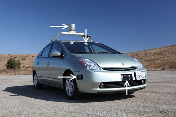 Photo of a light green metallic colored car with arrows pointing to sensors and cameras.