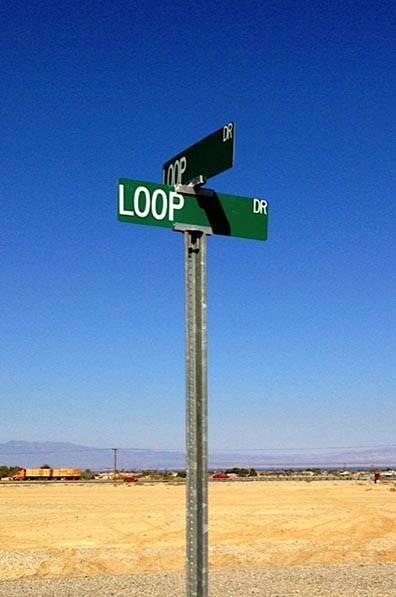 Photograph of a intersection street sign for the streets Loop drive and Loop Drive.