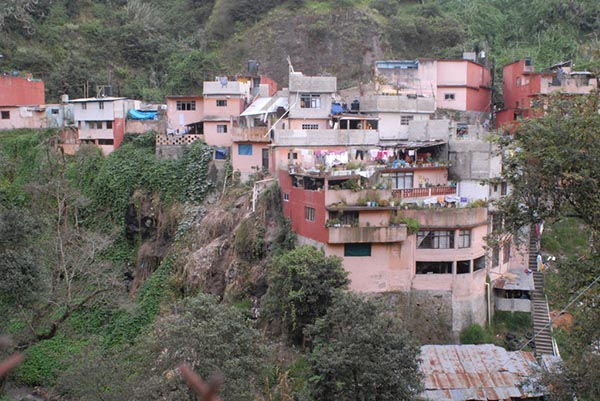 Photograph of buildings on a hillside.