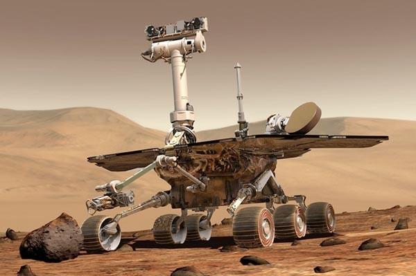Digital rendering of the rover on Mars.