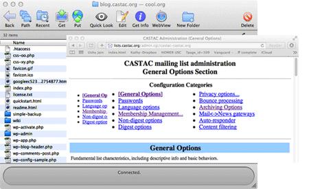 Screenshot of mailing list administration screen.