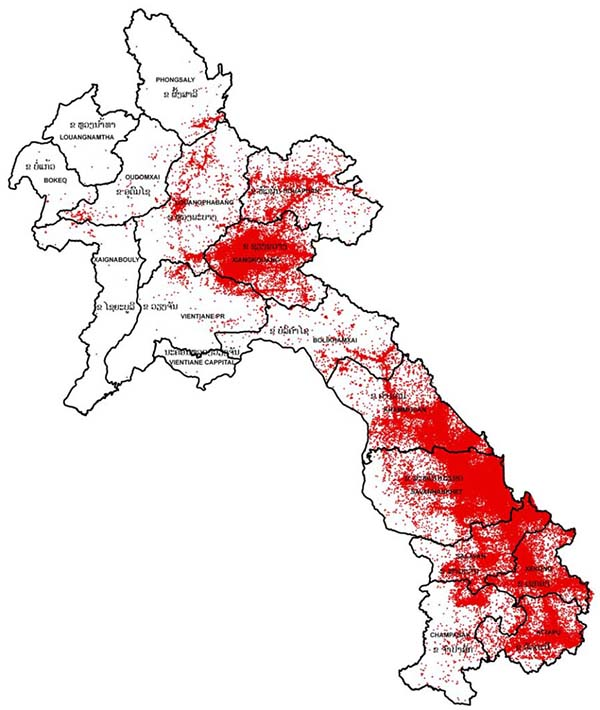 Map with high concentrations of red dots in the South and central areas.