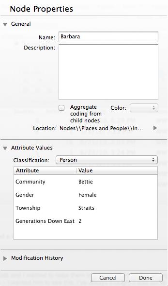 Screenshot on the NVIVO node properties interface.