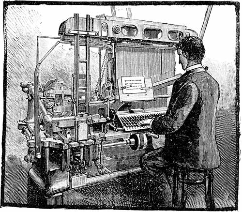 Engraving of a typesetter Blower, forerunner of the Linotype. Scanned by Frédéric Bisson. From New Universal illustrated encyclopaedia, supplement and biographical dictionary, sixth volume, J. Trousset. Public domain.