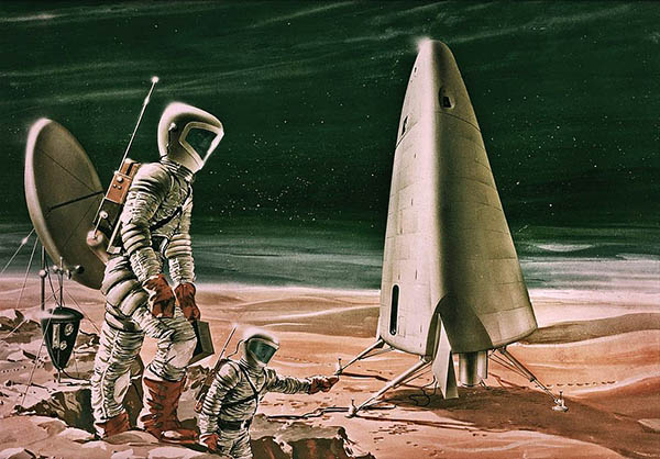 Illustration of a space ship, satellite, and astronauts on Mars.