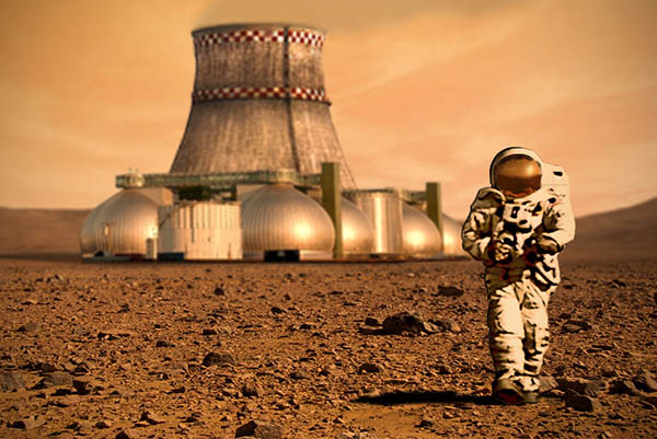 Artistic rendering of an astronaut on Mars with a base in the background.