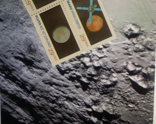 stamp from 1992 held up alongside an image returned from New Horizons of the surface of Pluto