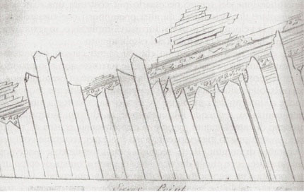Pencil drawing of thin slanted rectangles stacked vertically and horizontally.