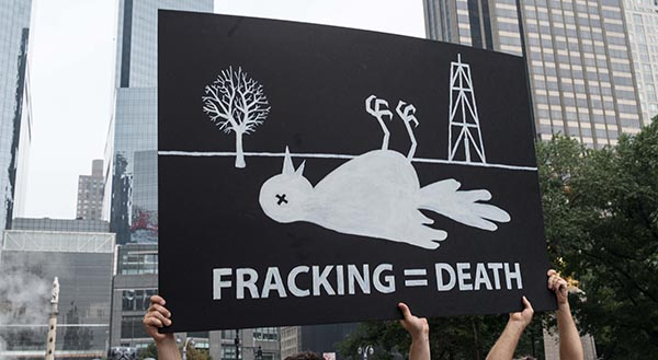 "Photograph of a protest sign being held up that says ""Fracking = Death"" with a dead bird and fracking tower above it."