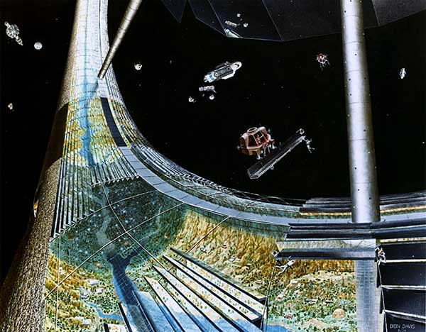 Artists depiction of a space colony tube in the shape of a ring inside the tube are rivers, forests and mirrors.