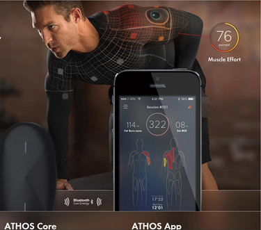 Banner ad for ATHOS Core and ATHOS App; a picture of a runner and an iPhone showing the app.