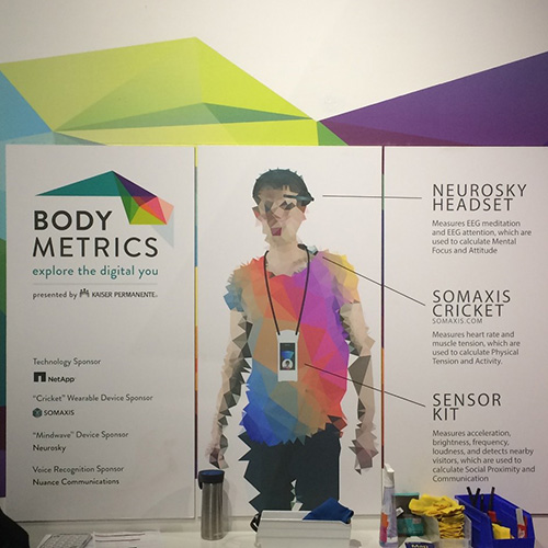 Image of poster, which says Body Metrics and shows a digitally blurred person wearing wearable tech.