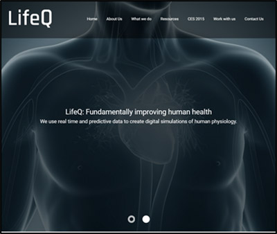 Image of a billboard for LifeQ, showing a monochrome torso, slightly transparent, like an x-ray, with the heart underneath. Text: LifeQ: Fundamentally improviing human health.
