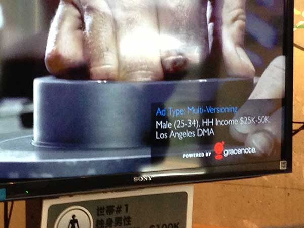 """Photograph of a screen displaying a close up a hand that says """"Ad type: Multi-versioning Male (25-34), HH income $25k-50k, Los Angeles DMA Powered by gracenote""""."""