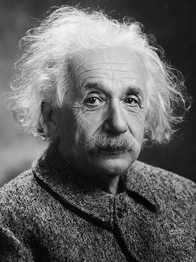 A black and white portrait of Albert Einstein