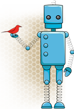 SciStarter 2.0 logo (a drawing of blue robot holding a red bird).