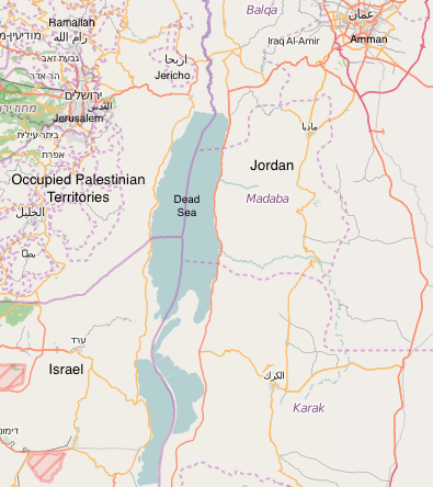 Map of the Dead Sea and its international borders between the West Bank, Israel, and Jordan.