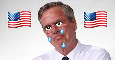 Edited portrait of Jeb Bush with cartoon eyes and tears with American flags on either side of his head.