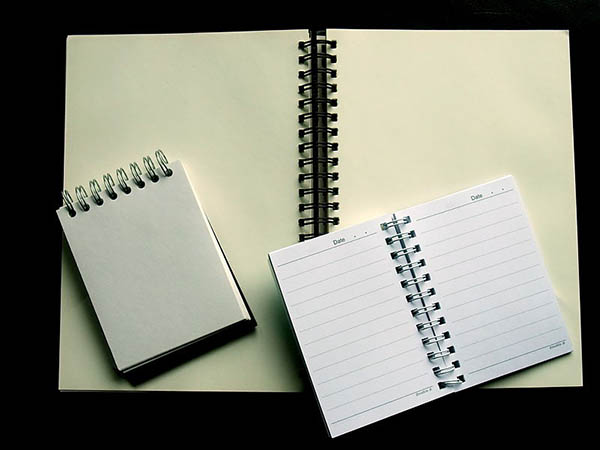 Three open spiral notebooks of varying sizes, all blank.