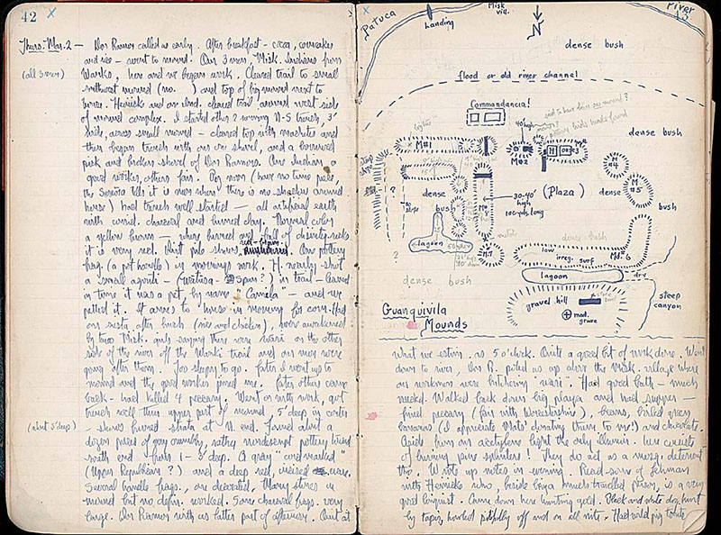 Two facing pages from a handwritten diary, in blue ink, with diagrams on the right upper half.