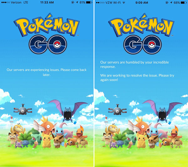 """Two screenshots of the PokemonGO loading screen. The left says """"Our servers are experiencing issues. Please come back later."""" The right says """"Our servers are humbled by your incredible response. We are working to resolve the issue. Please try again soon!"""""""