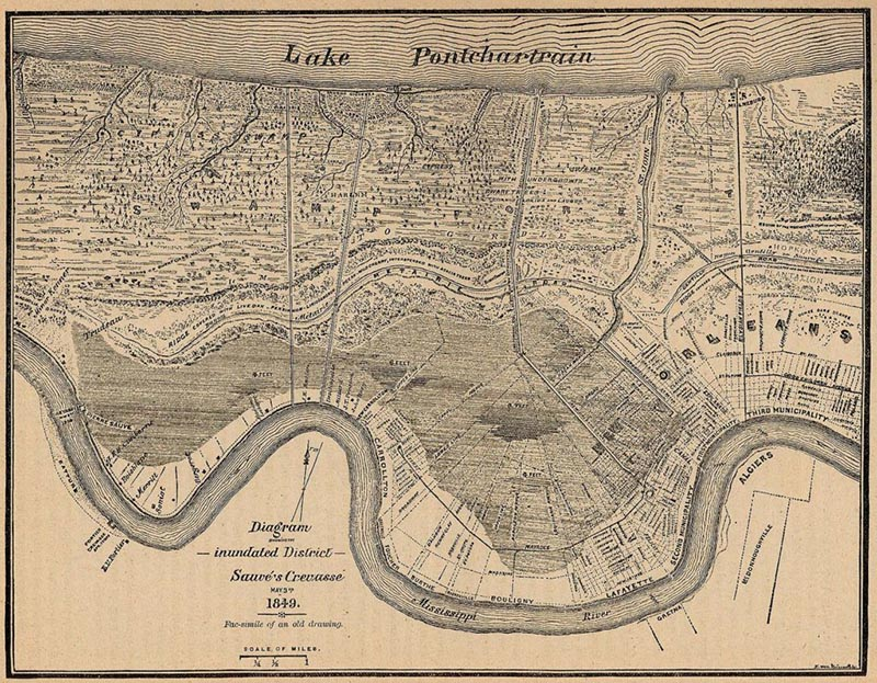 Antique map with line drawing of Lake Pontchatrain at the top and a river at the bottom. With the waterways and ingrastructure drawn between.