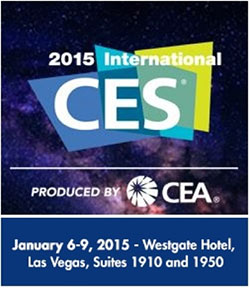 Image of a banner ad for CES reading: 2015 International CES; PRODUCED BY CEA; January 6-9, 2015 - Westgate Hotel, Las Vegas, Suites 1910 and 1950. Dark background with what looks like stars and nebulae.