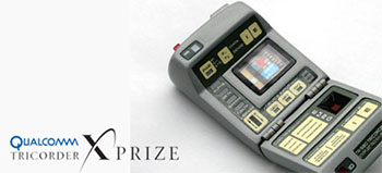"""PIcture of a Star Trek """"tricorder"""" on a white background; small text in lower left says: Qualcomm Tricorder X Prize"""
