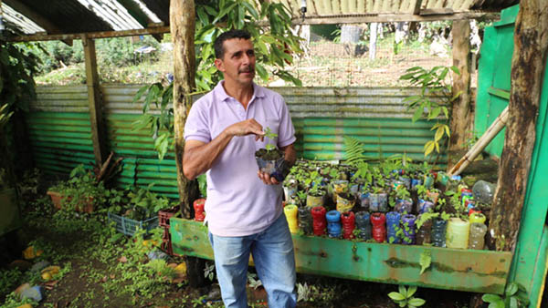 A man in a lavendar short-sleeved shirt and jeans stands in a gardening shed full of plants in small containers, and what look like colored upside-down plastic bottles. He is holding a small planter with a green shoot sprouting a few leaves.