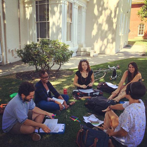 Drexel Students and Ali Kenner meet at the Dornsife Center in Philadelphia. August 2015.