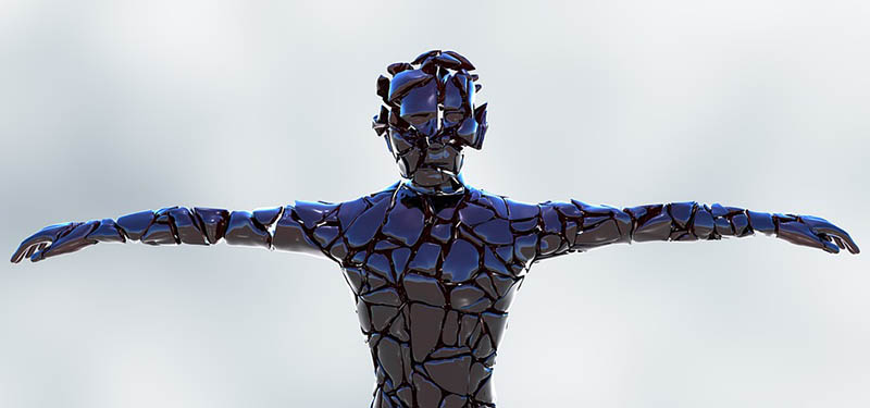 Computer-generated image of a figure from the waist up with the arms outstretched to the side. The surface of the sculpture is broken apart and the peices around the head are hovering slightly away from the head area.