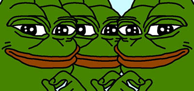 "Three smirking ""Pepe"" frogs"