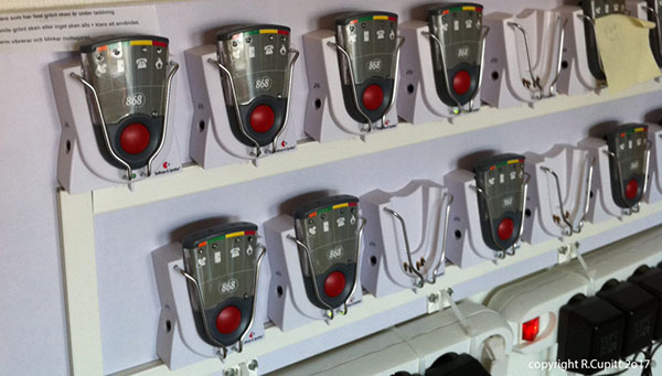 Fire alarm devices designed to vibrate and alert deaf employees at a Swedish company in the case of a fire.