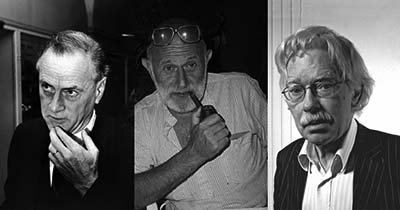 Black and white portrait photos of Marshall McLuhan, Vilém Flusser, and Friedrich Kittler