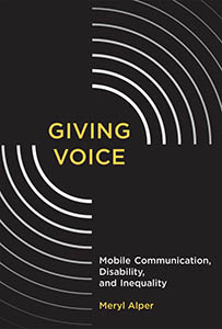 The cover of Giving Voice, depicting the title in gold on a black background with stylized sound waves emanating from it.