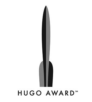 """An image of the Hugo Award logo, depicting a stylized two-tone rocket standing above the words """"Hugo Award."""""""