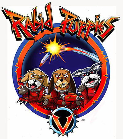 The Rabid Puppies logo, featuring three angry, presumably rabid puppies in sci-fi outfits holding ray guns, while a rocket similar to the one in the Hugo Award logo explodes in the background.
