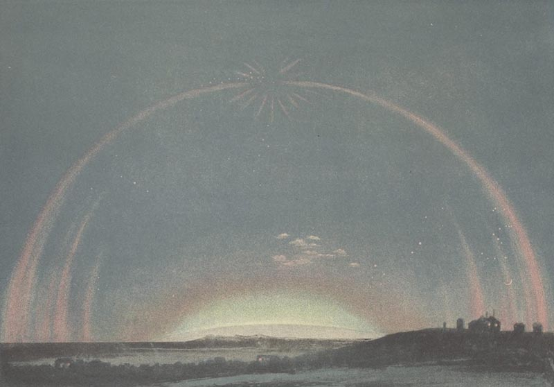 An artistic rendering of an aurora. A central meniscus of blue light hovers over a distant horizon, encircled by concentric golden semi-circles of light.