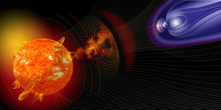 An artistic rendering of the magnetic fields of the earth and the sun during a solar mass ejection event