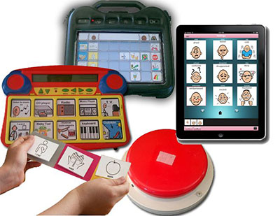 Five different objects for communication, including a tablet computer, a dedicated high-tech AAC device, a mid-tech AAC device, a switch to activate a communication device, and a paper picture-based system.