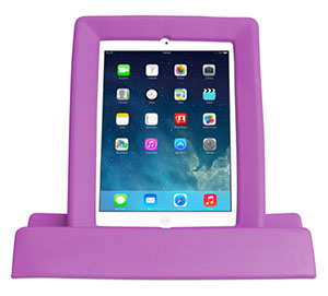 An upright iPad resting in a bulky, pink plastic case that encircles it like a frame, and has a wide base to support it.