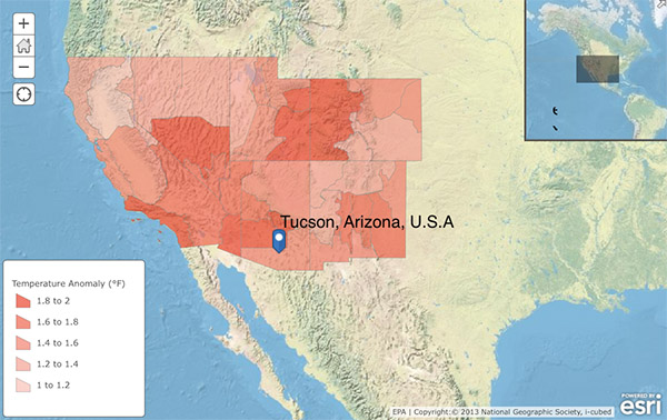 A map of California, Nevada, Utah, Colorado, Arizona and New Mexico showing temperature anomalies. The largest are North of Tucson Arizona, southern Nevada and on the border of Utah and Colorado.