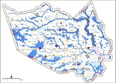 A map showing water ways.