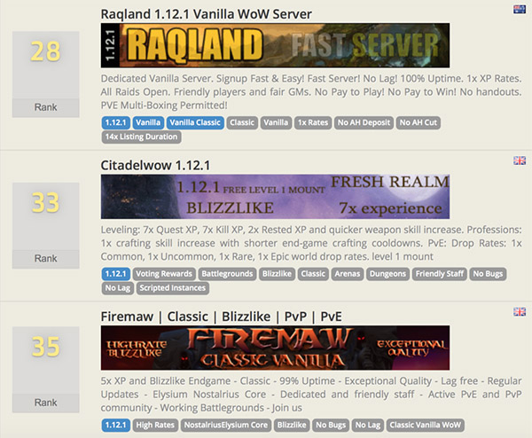 Screenshot of three different sever advertisements. Each has a rank, a banner image, a description, and tags.