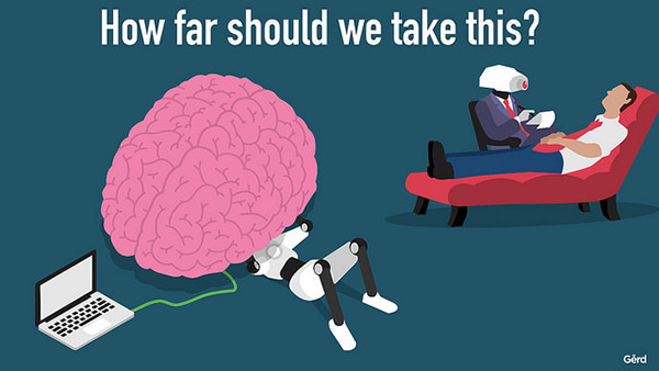 "An illustration with the heading ""How far should we take this?"" On the left is an illustration of a braim attached to a laptop with a robot under it (like a mechanic working on a car). On the right is a robot seated in a chair taking notes next to a human lounging in therapy chair."