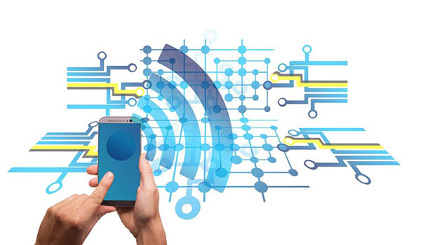 Photograph of hands holding a mobile phone with wifi waves emenating out from it. The background has an illustration of lines and nods.