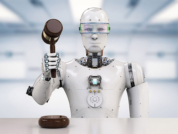 Rendering of a white humanoid robot seated holding a judge's gavel.