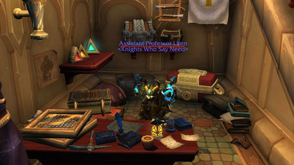 Screenshot of World of Warcraft. In the center is a figure with the title Assistant Professor Liten <Knights Who Say Need> above its head. The room contains shelves of chests, archaeology screens, artifacts and books.
