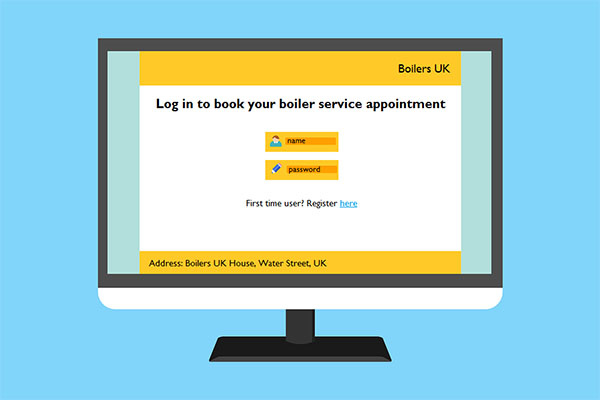 """Figure of a computer display showing an online appointment screen with instructions to """"Log in to book your boiler service appointment"""", and spaces to enter a user name and password."""